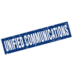 Square grunge blue unified communications stamp vector