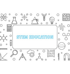 Stem education outline horizontal frame vector