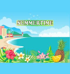 Summertime poster seashore vector