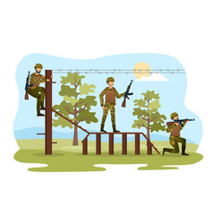 three male characters are training for soldiers vector image