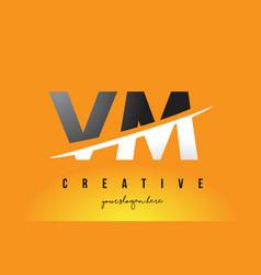 Vm v m letter modern logo design with yellow vector