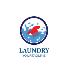 washing clothes logo icon laundry service vector image