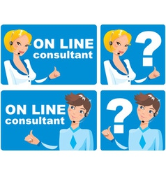 Web icons - on line consultant vector