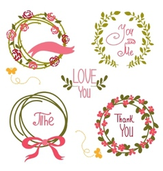 Wedding graphic set wreath flowers arrows vector image