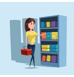 Woman or girl shopping at supermarket with basket vector image