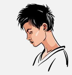 woman portrait girl with short hair looking down vector image