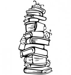 cartoon kids on books vector image