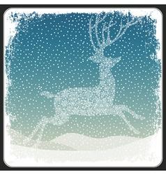 Christmas deer background vintage vector image vector image