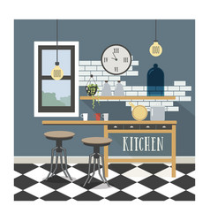 Modern kitchen interior in loft style vector