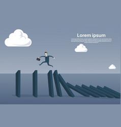 business man running on chart bar falling economic vector image