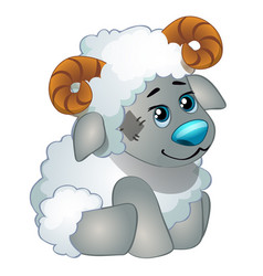 cute sheep - old childrens stuffed toy with patch vector image