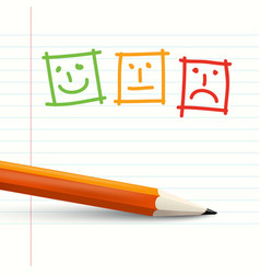 feedback symbols on notebook paper with pencil vector image