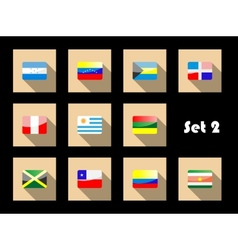 International country flags set on flat icons vector image