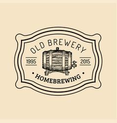 kraft beer barrel logo old brewery icon hand vector image