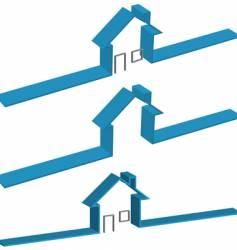 ribbon 3d house vector image
