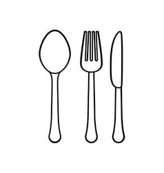 silhouette cutlery icon image design vector image