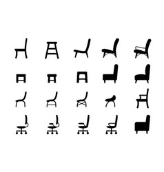chair icons and symbol in silhouette style vector image