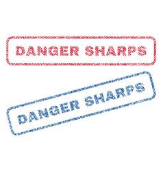 danger sharps textile stamps vector image