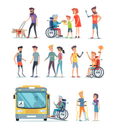 disabled people and help for them white poster vector image vector image
