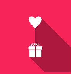 gift with balloon in shape of heart vector image vector image