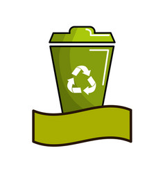 Green can trash with recycling symbol and ribbon vector