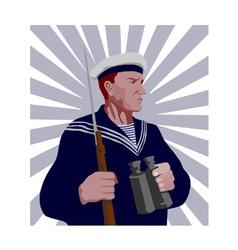 Navy sailor rifle binoculars retro vector