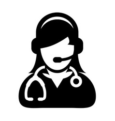 Woman doctor icon with online consultation and vector