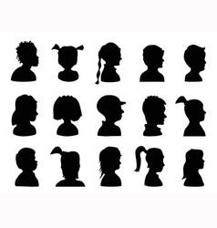 Children Profile Silhouettes vector image vector image