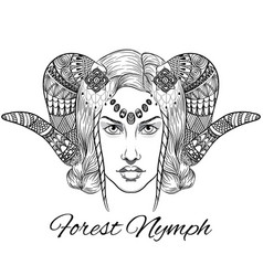 forest nymph portrait anti stress vector image