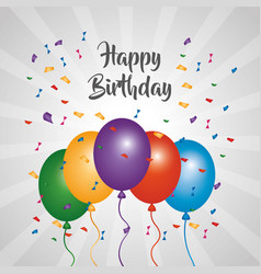 happy birthday greeting card bright color balloons vector image