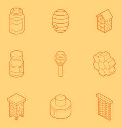 honey flat outline isometric icons vector image