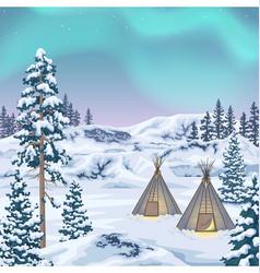 northern landscape with aurora borealis vector image