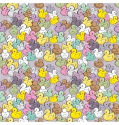 Seamless pattern with colorful baby ducks vector image vector image