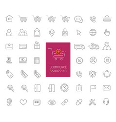50 ecommerce and shopping thin line icons vector image