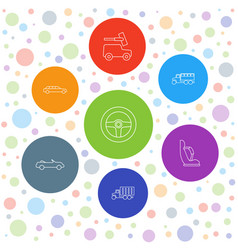 7 automobile icons vector image