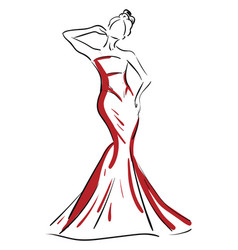 A silhouette a beautiful woman in red-colored vector