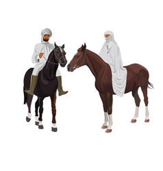 arab man and woman on horseback vector image