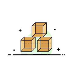 Arrange design stack 3d box flat color icon vector