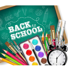 back to school card with drawing tools pencils vector image