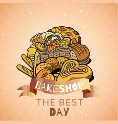 bakershop with bakery bread and pastries poster vector image