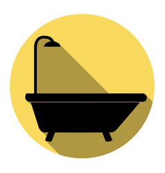bathtub sign flat black icon with flat vector image