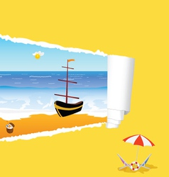 beach with tearing paper color vector image