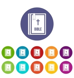 Bible set icons vector image