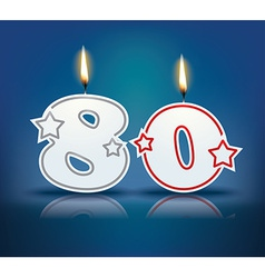 Birthday candle number 80 vector