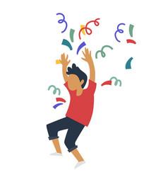 Birthday party boy throwing confetti surprise vector