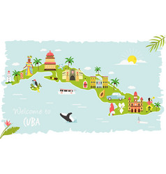 Bright map cuba with symbols icons famous vector