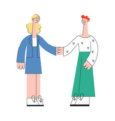 business woman and man shaking hands in flat style vector image