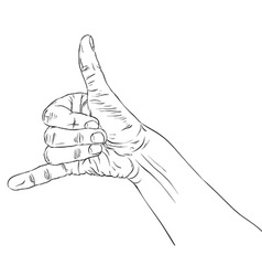 Call me hand sign detailed black and white lines vector image