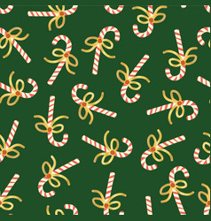 candy cane seamless christmas pattern green vector image