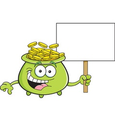 Cartoon pot of gold holding a sign vector image
